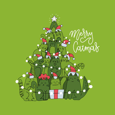 Cute christmas card with christmas tree made of cats. Green square greeting card with lettering linear greeting text Merry Christmas.