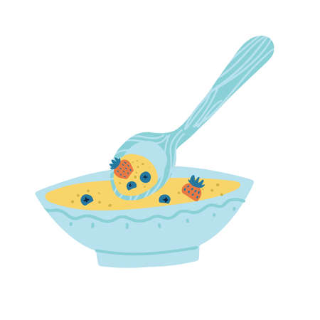 Healthy breakfast with porridge or muesli and berries flat doodle isolated illustration. Cereal bowls with big spoon, strawberries and blueberries.