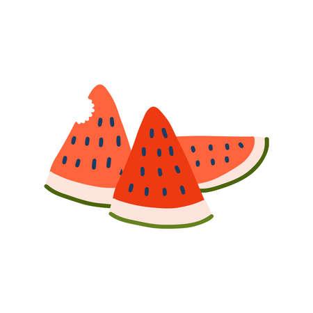 Fresh juicy watermelon icon tasty ripe fruit sticker healthy food concept illustration. Tree slices.