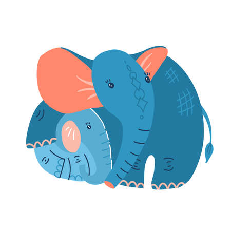 Young blue baby elephant with mother on a white background. Illustration for mothers day. Mom hugs the baby elephant. Flat hand drawn vector design.
