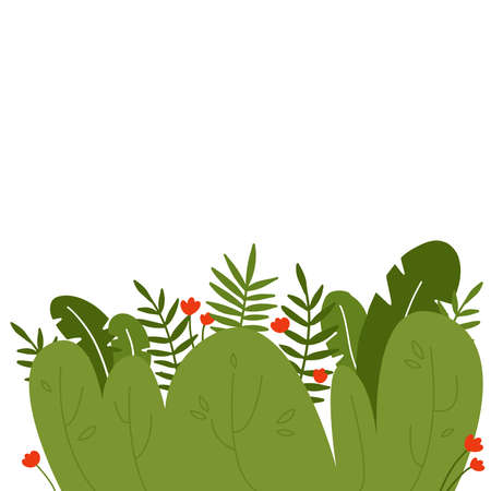 Tropical leaves background template vector illustration flat design.