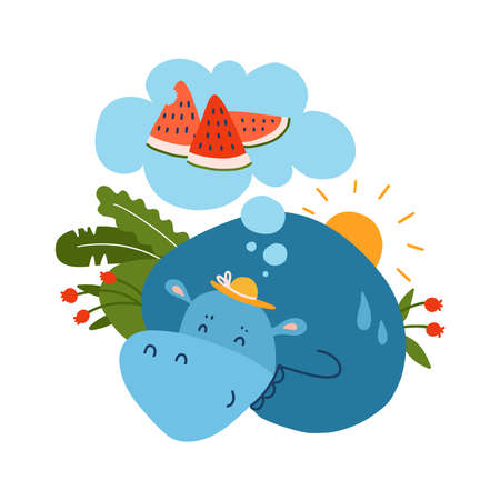 Hippo dreaming about watermelon, flat hand drawn vector illustration on white background. Hot summer concept. Healthy fruit food.