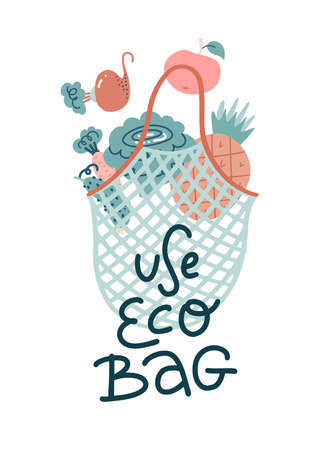 Scandinavian illustration with lettering text of eco bag with cabbage, pineapple, beets inside. Save nature, eco friendly concept. String bag for for repeated use, without waste. No plastic concept.
