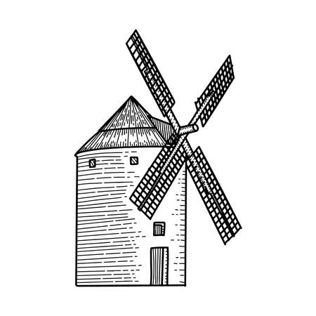 Wind mill, windmill hand drawn sketch vector engraved illustration. Ethcing medieval building emblem,  banner, badge for poster, web, mobile, icon, packaging. Isolated black and white object. Imagens - 152776259