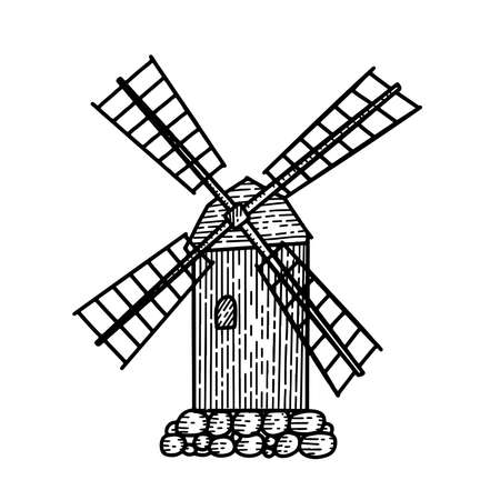 Mill. Hand drawn vintage windmill. Engraved linear style vector illustration isolated on white background. Elements windmill, swallows