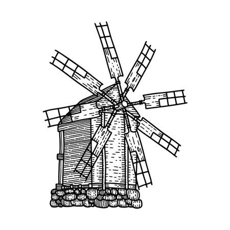 Sketch of old woodeb windmill isolated. Seven-blade mill. Hand drawn vector sketch illustration in Engraved linear style