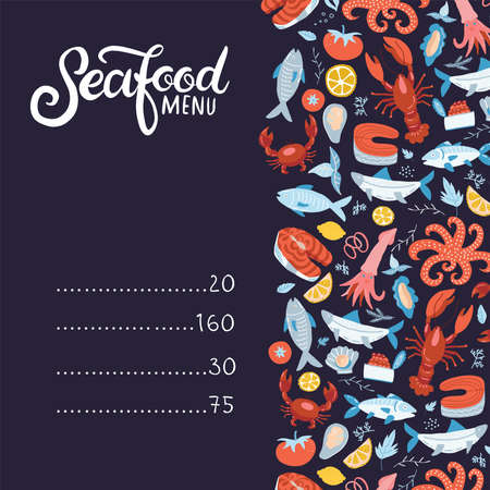 Seafood menu. Set of colorful seafood elements-crawfish, lobster, crab, shrimps, lemon with octopus, shells,oysters, salmon, fish and spicies,crustaceans. Flat hand drawn illustration with lettering. Imagens - 152776265