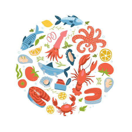 Seafood icons set in round, circle flat style. Sea food collection isolated on white background. Fish products, marine meal design element. Vector flat hand drawn illustration.