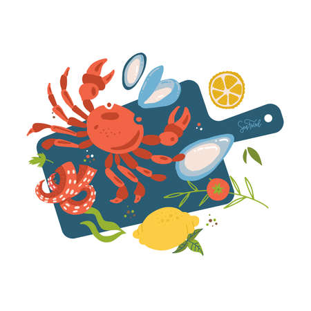 Sea food top view on cutting board. Fish restaurant seafood dishes food cooked from crab meat,oysters, octopus tentacles and lemon. Marine cafe seafood menu vector isolated illustration.