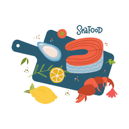 Cooking salmon steak,srimp ,shell vector cartoon top view illustration. Raw sea fish on wooden cutting board, spices and ingredients. Seafood restaurant menu design elements. Freehand marine products.