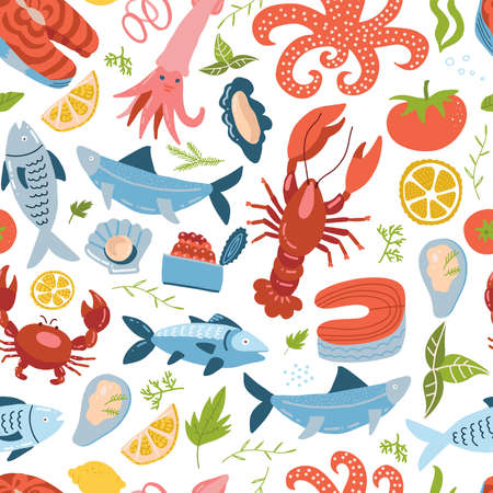 Sea animal set seamless pattern with , king crab, crawfish and fish. Sea food ornament. Cute colored repeated textures in simple flat vector style. Perfect for fabric design and wallpaper.