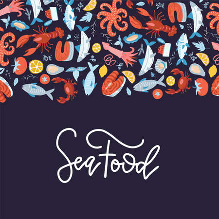 Sea food frame flat vector illustration. Hand drawn menu cover design with lettering.