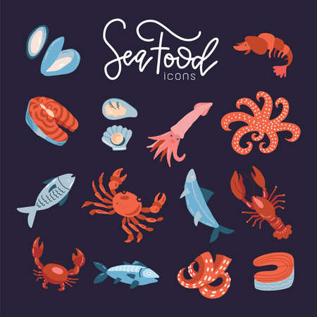 Seafood fish menu restaurant icons set with crab shrimps shell isolated flat vector illustration.