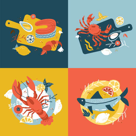 Seafood collection. Set of Hand-drawn isolated concepts. Vector flat cartoon illustrations in scandinavian style. Fish on a wooden cutting board and plate. Oysters, crab salmon and lobster. Top view.  イラスト・ベクター素材