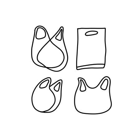Vector Set of Black Doodle Shopping Bags Icons. Plastic bags in outlined style.  イラスト・ベクター素材