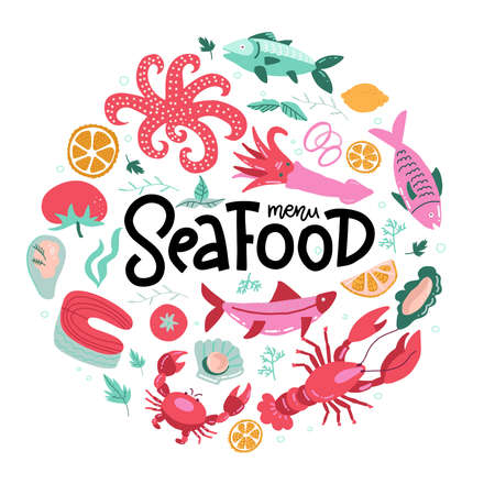 Round shape print with color fish and seafood icons with hand lettering. Food sign for menu and market. Illustration for print, web. Circle design element.  イラスト・ベクター素材