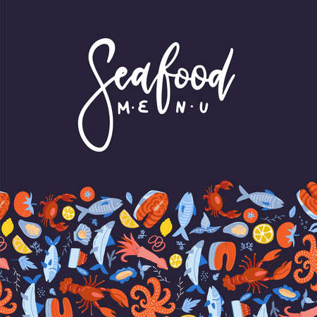 Seafood menu design for restaurant or cafe. Vector flat template with pattern decor and hand drawn lettering text.  イラスト・ベクター素材