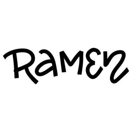 Trendy simple ramen lettering icon, for your restaurants. hand drawn calligraphy text, black in white
