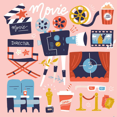 Set of Cinema flat colored Doodle Illustration. Collection of many movie items. Reel, Camera, Ticket, Clapperboard and Fast Food. Cartoon flat Vector Illustration.