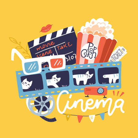 Cinema sign with icons set. Vector flat doodle bright hand drawn illustration. Cinematograph concept banner design template with popcorn, drink, film reel, movie cracker, ticket on yellow background.