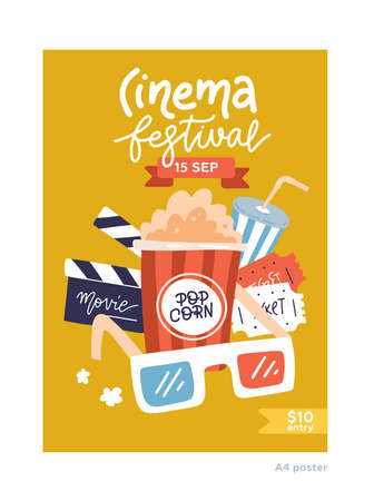 A4 size Movie poster. Cinema placard flat design template with film symbols - tape, stereo glasses, popcorn, clapperboards. Flat Vector Illustratation of movie banner with lettering Cinema festival  イラスト・ベクター素材