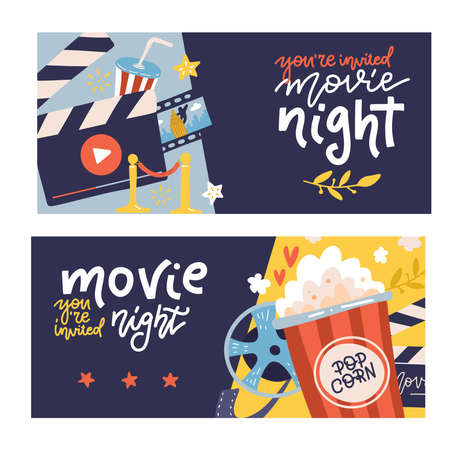Cinema cartoon horizontal banners set with cinema night symbols. Flat vector hand drawn illustration with lettering quotes.