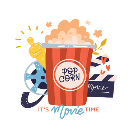 Its movie time - print concept with lettering, watching cinema with popcorn, film reel, movie cracker. Flat vector hand drawn illustration.