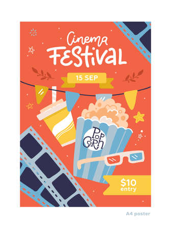 Cinema Movie Festival Placard Banner Card and Popcorn, , Glass for Ad, Invitation, Presentation. Vector flat hand drawn illustration of Cinematography. A4 size poster template
