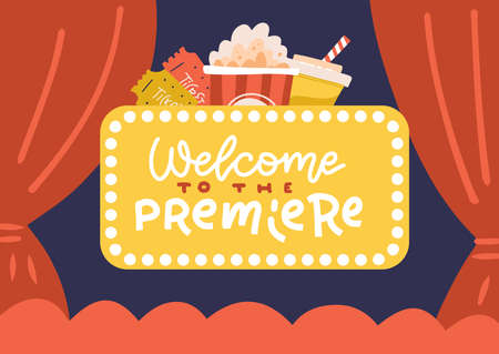 Banner Cinema hall, screen and red curtains. Templates for advertising posters to the films premiere. Lettering quote - Welcome to the premiere. Flat vector hand drawn illustration.  イラスト・ベクター素材
