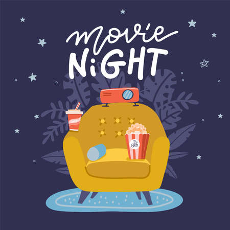 Movie Night banner design. Trendy concept design on home movie watching entertainment with yellow sofa couch and film projector. Ideal for web, graphic and motion design. Flat vector illustration. Imagens - 154541267