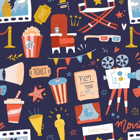 Seamless pattern with flat movie icons on dark blue background. Reel, Camera, Ticket, Clapperboard and Fast Food. Cartoon hand drawn Vector Illustration.