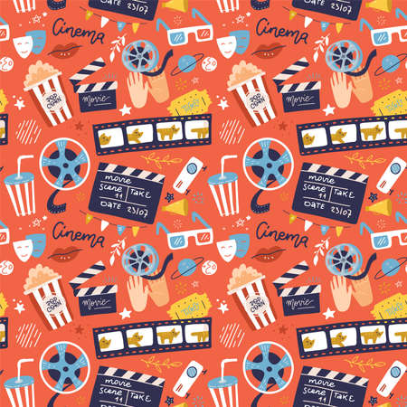 Flat cinema seamless pattern design with film reel, clapper, popcorn, 3D glasses. Cartoon flat Vector Illustration for print, fabric and web-design.