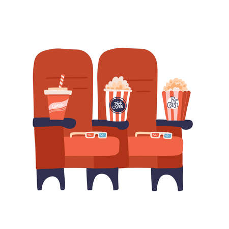 Two red cinema seats with popcorn drinks and glasses. Vector flat hand drawn illustration.