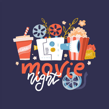 Cool vector web banner, design element on Movie Night event with lettering ,detailed retro motion picture film projector, admit one cinema theater tickets and popcorn. Cartoon flat Vector Illustration