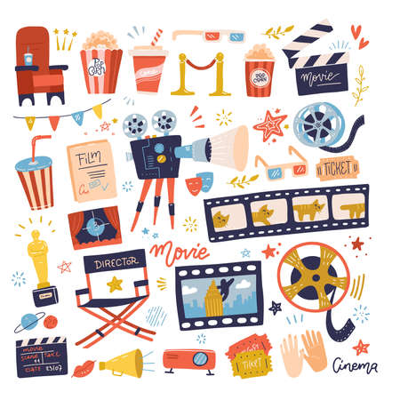 Big set of icons on movie or cinema theme. Making film and watch movie in the cinema illustration collection - film , director chatr, cadre, snack. Cartoon flat hand drawn Vector design.