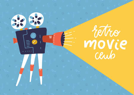 Cool retro movie projector poster, leaflet or banner template with lettering sample text - Retro movie club. Analog device - cinema motion picture film projector with different film reels  イラスト・ベクター素材