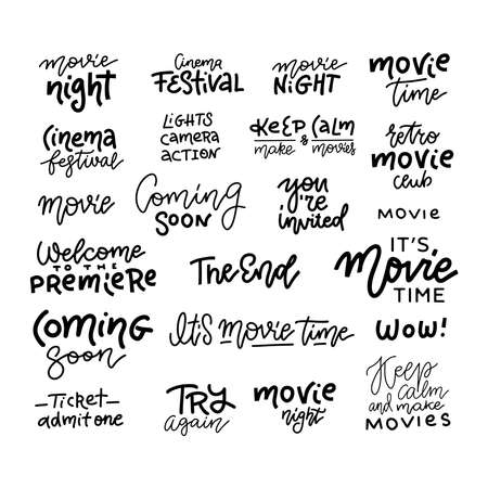 Set of cinema, movie, film doodles and trendy lettering isolated on white background. Vector text. Good for logo, pin, t-shirt design, posters, cards and banners  イラスト・ベクター素材