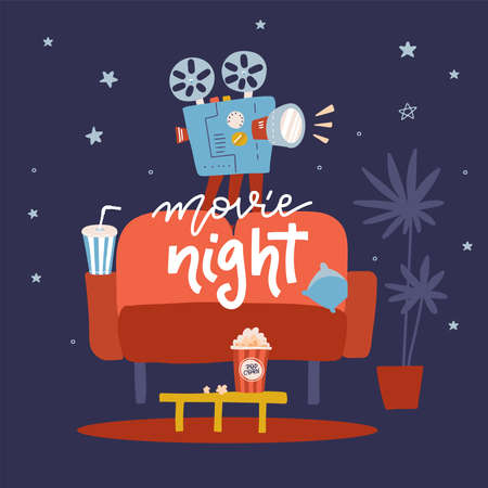 Movie night flat design illustration. Concept design on home movie watching with sofa,popcorn,film projector. For web, graphic,motion design