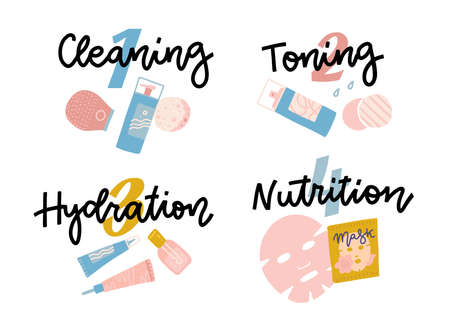 Icon set for skincare infographic. Four steps face care. Hand drawn lettering words - Cleaning, Toning, Hydration, Nutrition.
