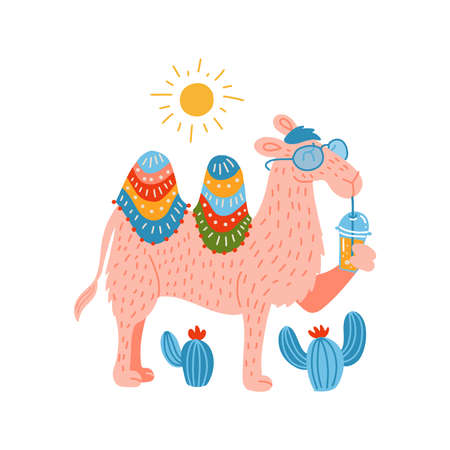 Cute pink Camel in a glasses with a Plastic Cup Mockup of Smoothie. Humor card, t-shirt composition, hand drawn childish style print.