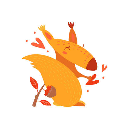 Funny, comic, cute squirrel. Cartoon hand drawn character. Forest animal in love. Yellow squirrel with big nose hearts. Ilustração