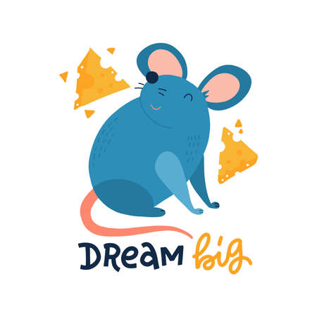 Hand drawn cute Mouse with cheese slices isolated on white background. Cartoon character childish illustration. Rat Sketch.
