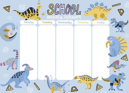 Kids weekly planner with cute doodle dinosaurs. A timetable for elementary school. Vector flan scandinavian illustration with hand drawn lettering text.