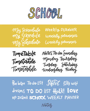 Hand dtawn custom lettering of the days of the week for your designs. Handwritten text for your weekly plannes, school timetable. Motivating quotes in doodle style.