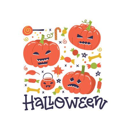 Happy Halloween greeting card design. Autumn, Fall concept.