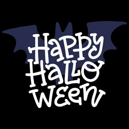 Happy Halloween modern doodle Calligraphy. Halloween banner on background with bat silhouette. Halloween lettering. Ilustração