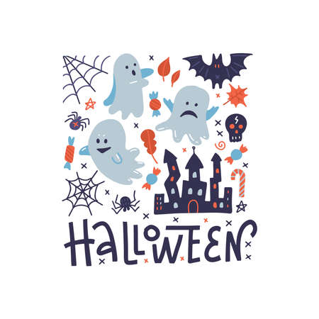 Happy Halloween square pattern greeting card with ghosts, black spider, scary castle and spider web. Flat illustration with lettering. Ilustração