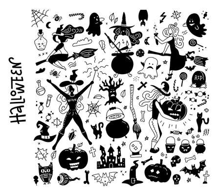 Halloween black silhouettes BIG set. Happy Halloween night icons, bat and skeleton, owl and ghost, witches and pumpkins. Flat hand drawn illustrations