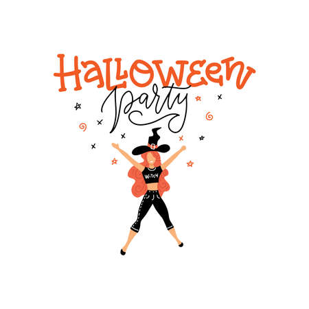 Trendy pretty dancing witch with lettering Halloween party. Hand drawn flat character. Halloween greeting card, costume party invitation.