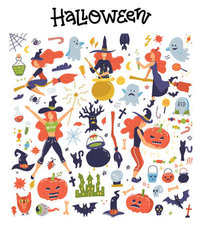 Cute big set with Halloween illustrations and icons: pumpkin, ghost, cat, bat, young witches, decoration clipart. Ilustração